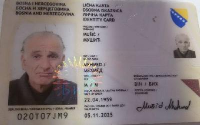 Pronađena izgubljena lična karta na ime Mehmeda Mušića